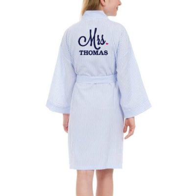 "Personalized ""Mrs."" Seersucker Bride Robe with Heart"