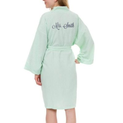 "Personalized ""Mrs."" Seersucker Bride Robe (Back)"