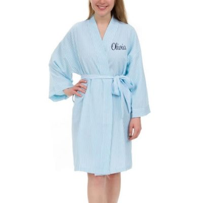 "Personalized ""Mrs."" Seersucker Bride Robe"