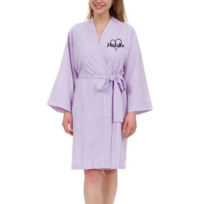 Personalized Seersucker Bridal Party Robe with Name and Heart