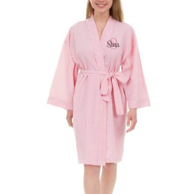 Personalized Seersucker Bridal Party Robe with Name and Initial