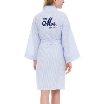 "Personalized ""The Mrs."" Seersucker Bride Robe"