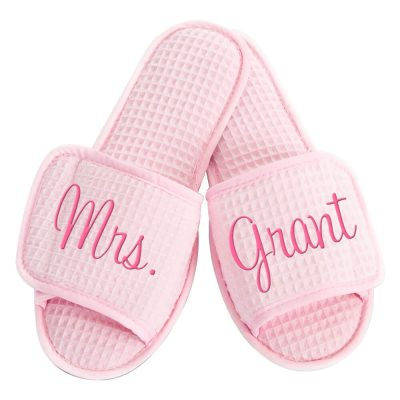 "Custom Embroidered ""Mrs."" Bride Slippers"