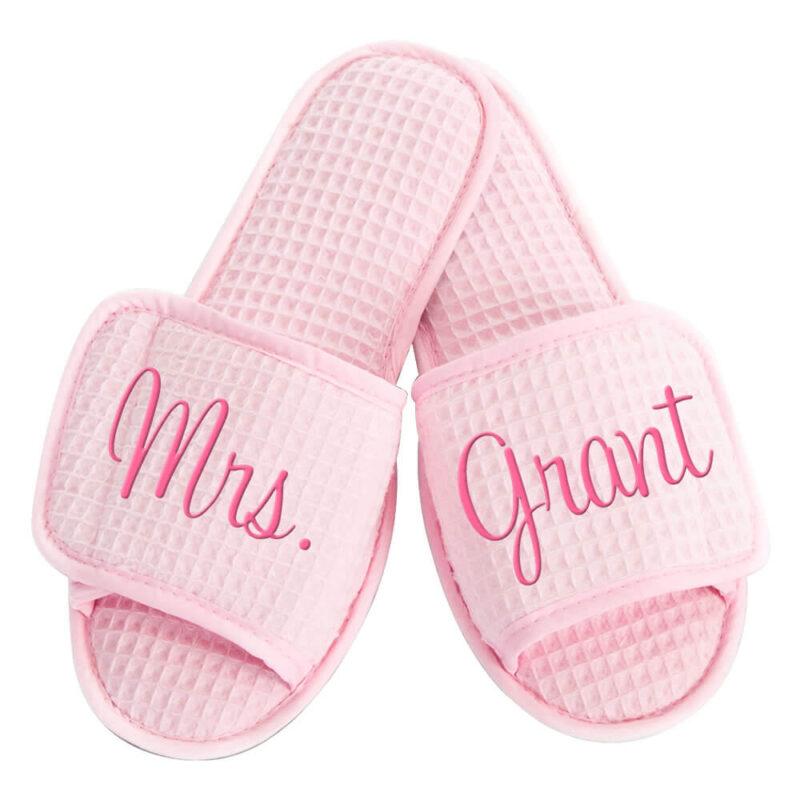 "Custom Embroidered ""Mrs."" Bride Slippers"