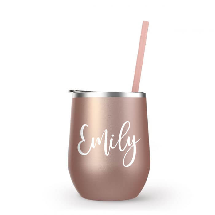 Stainless Steel Wine Tumbler with Name