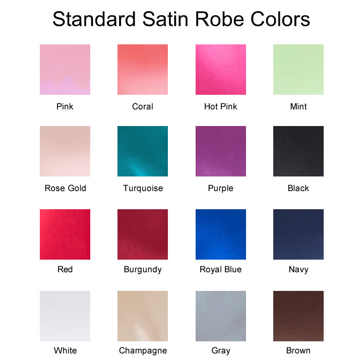 Standard Satin Robe Colors