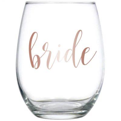 Stemless Bride Wine Glass - Lowercase Script