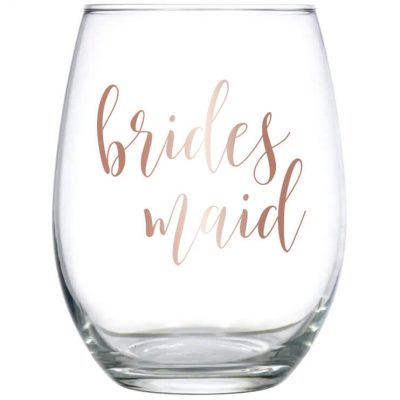 Stemless Bridal Party Wine Glass - Lowercase Script