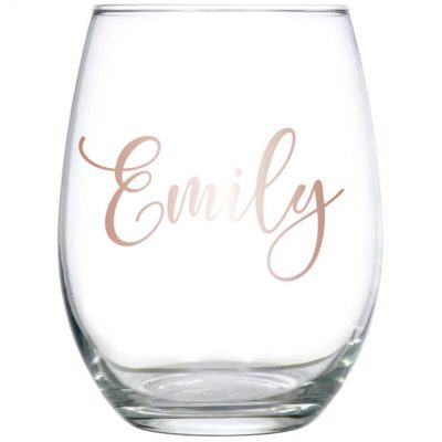 Stemless Wine Glass with Name - Lowercase Script