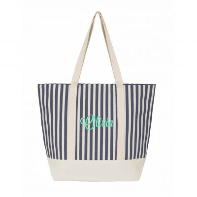 Striped Canvas Tote Bag with Name