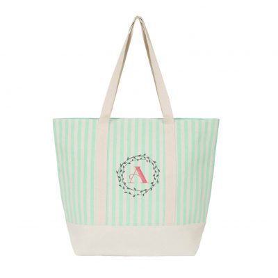 Striped Canvas Tote Bag Wreath Monogram