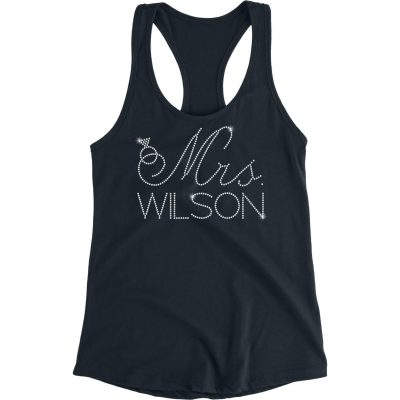 "Personalized ""Mrs."" with Ring Rhinestone Bride Tank Top"