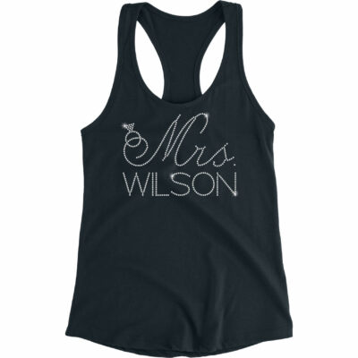 "Personalized ""Mrs."" Flowy Rhinestone Tank Top with Ring"