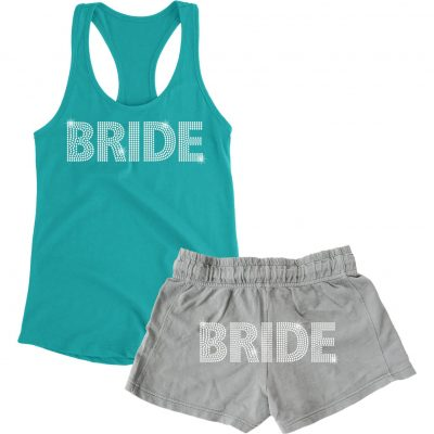 Rhinestone Bride Tank Top and Shorts Set - Block