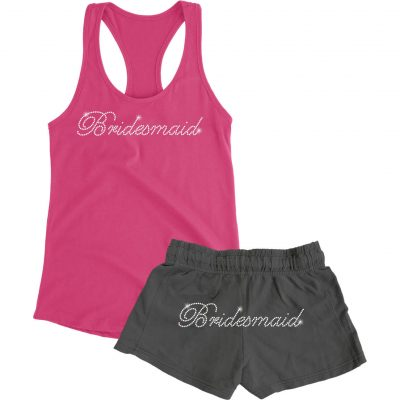 Rhinestone Bridesmaid Tank Top and Shorts Set - Script