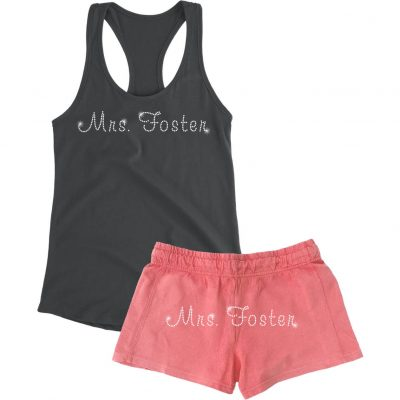 "Rhinestone ""Mrs."" Bride Tank Top and Shorts Set"