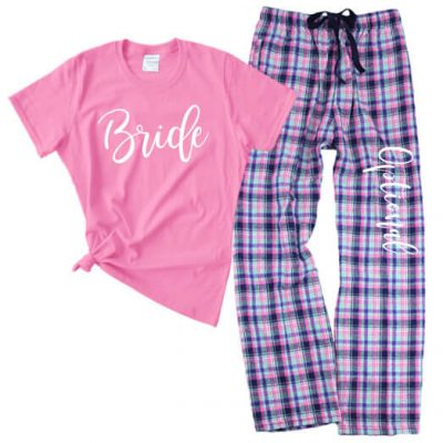 Rhinestone Bride Tank Top & Flannel Pants Set - Script