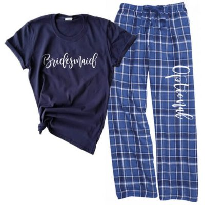 Rhinestone Bridal Party Tank Top & Flannel Pants Set - Script