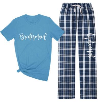 Rhinestone Bridal Party Tank Top & Flannel Pants Set - Script