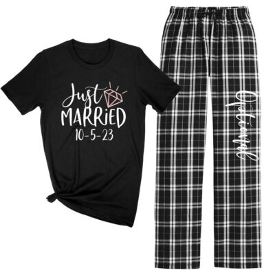 """Just Married"" Flannel Pants Set"