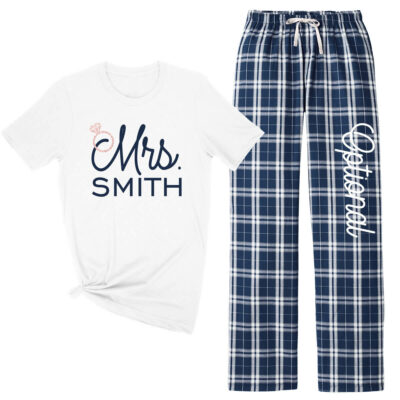 "Personalized ""Mrs."" Flannel Pant Pajama Set"