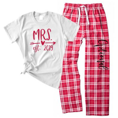 """Mrs."" Flannel Pants Set with Est. Year"