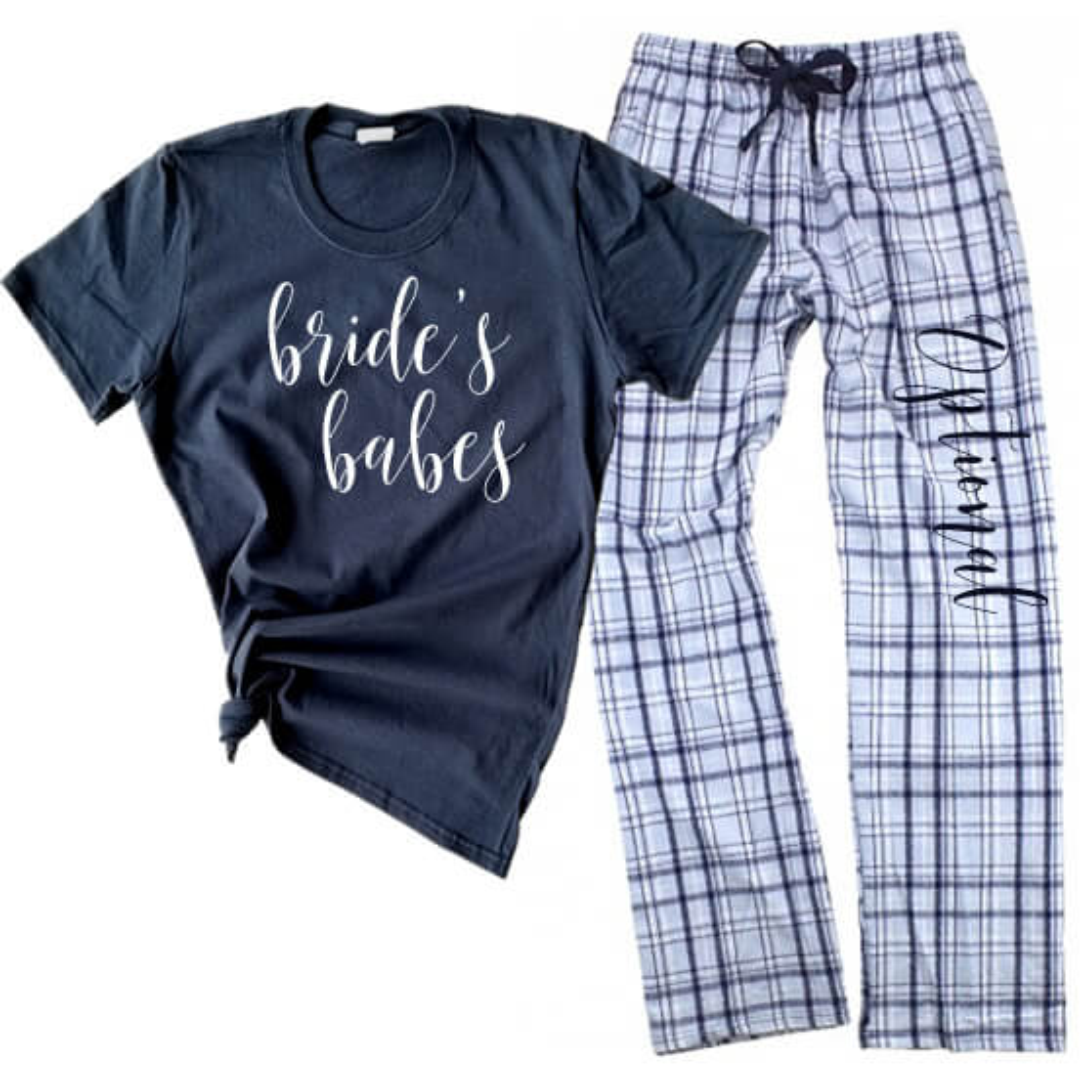 Bridal Party Flannel Pant Pajama Set Personalized Brides