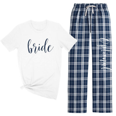 Bride Flannel Pant Pajama Set - Lowercase Script