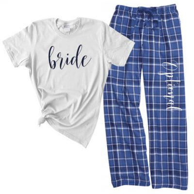 Bride Flannel Pant Pajama Set - Lowercase Script