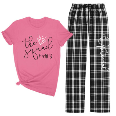 """Bride's Squad"" Flannel Pant Pajama Set - Swashes"