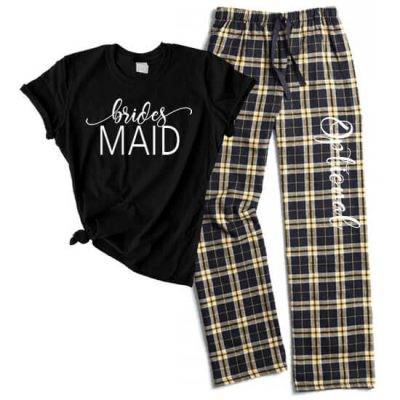 Bridesmaid Flannel Pant Pajama Set - Swashes