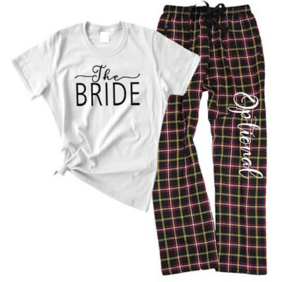 """The Bride"" Flannel Pant Pajama Set - Swashes"