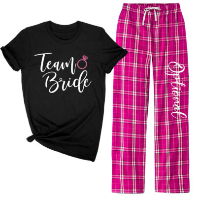 """Team Bride"" Flannel Pant Pajama Set"