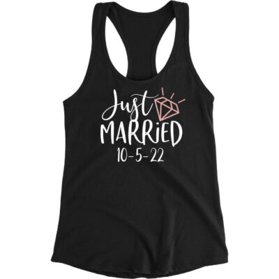 "Personalized ""Just Married"" with Date Rhinestone Bride Tank Top"