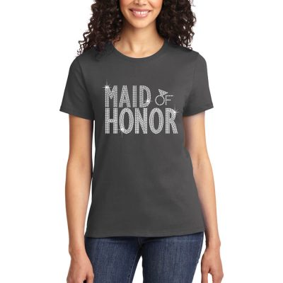 Rhinestone Maid of Honor T-Shirt - Block