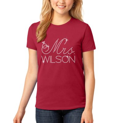 "Personalized ""Mrs."" Rhinestone Bride T-Shirt"