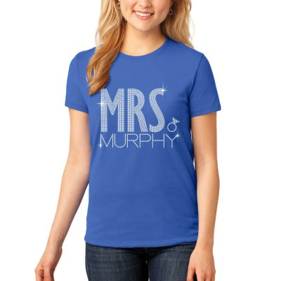 "Rhinestone ""Mrs."" Bride T-Shirt with Ring"