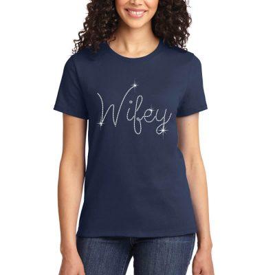 """Rhinestone """"Wifey"""" Bride T-Shirt"""