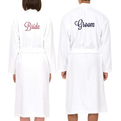 Personalized Bride and Groom Terry Robe Set - Back