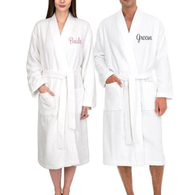 Personalized Bride and Groom Terry Robe Set - Front