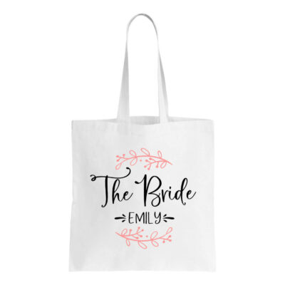 """The Bride"" Canvas Tote Bag with Name & Branches"