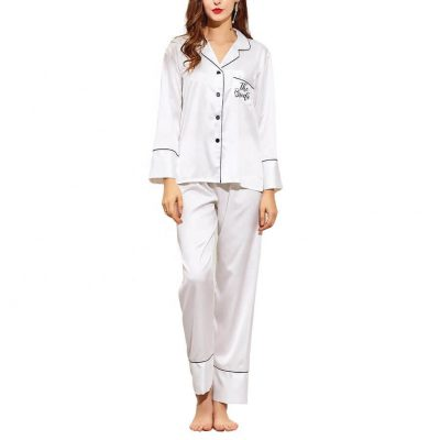 """The Bride"" Button-up Pajama Pant Set"