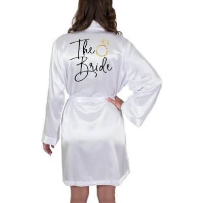"""The Bride"" Satin Robe with Ring"