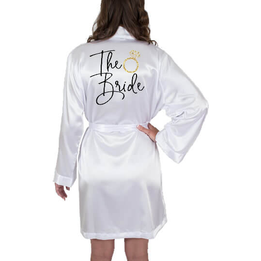 """""""The Bride"""" Satin Robe with Ring"""