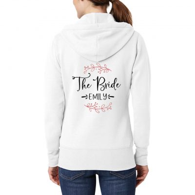 """The Bride"" Full-Zip Hoodie with Name & Branches"