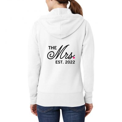 "Personalized ""The Mrs."" Embroidered Full-Zip Hoodie"