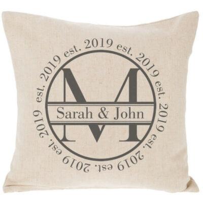 Circle Split Monogram Throw Pillow