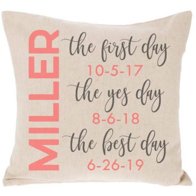"""First Day, Yes Day, Best Day"" Throw Pillow"