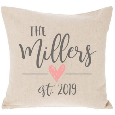 Mr. & Mrs. Embroidered Throw Pillow with Wedding Date