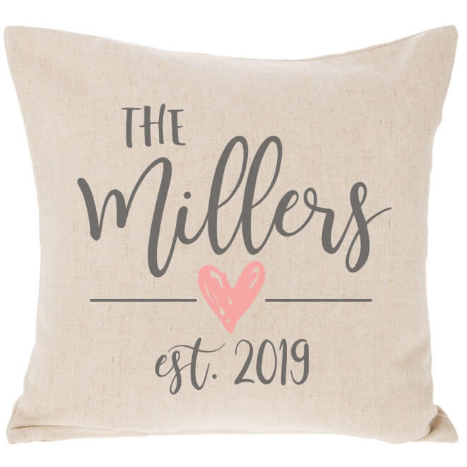Mr Amp Mrs Embroidered Throw Pillow With Arrows